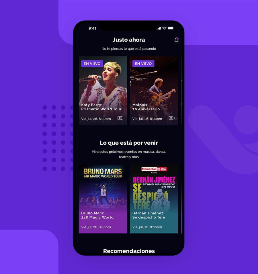 Diseño UX UI para pantalla de inicio de aplicación viivo Costa Rica
