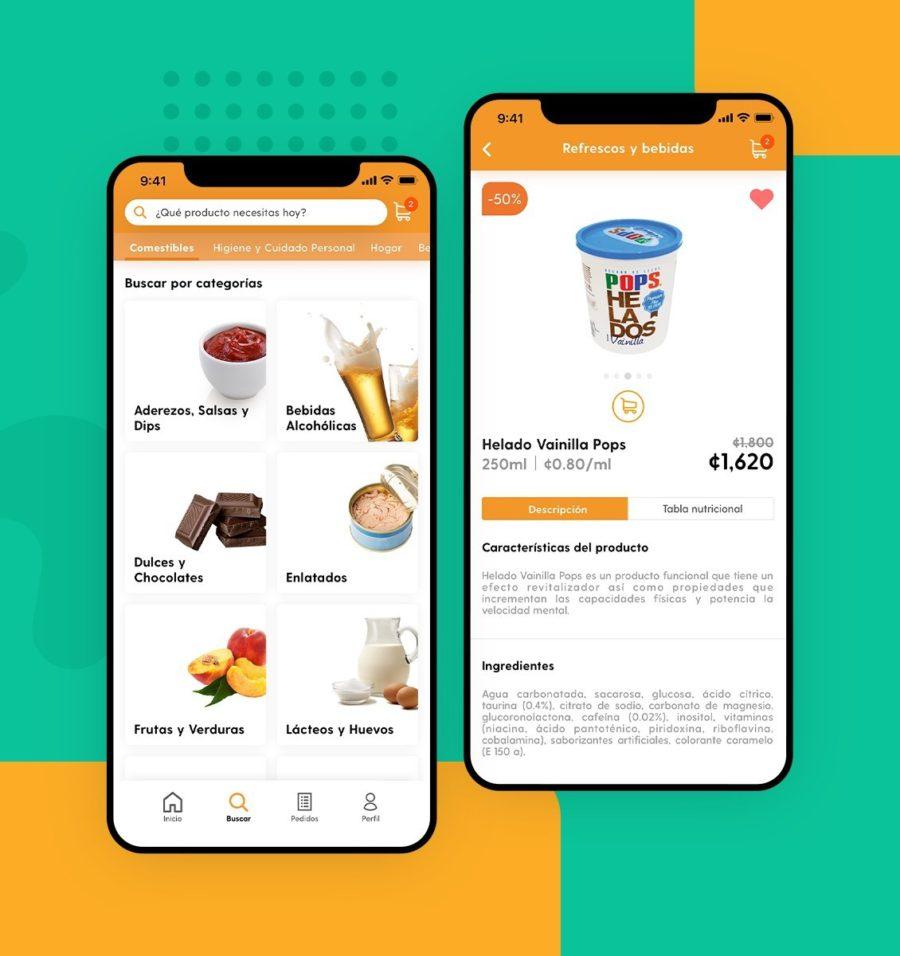 Aplicación de interfaz para pantalla de productos de abarrotes