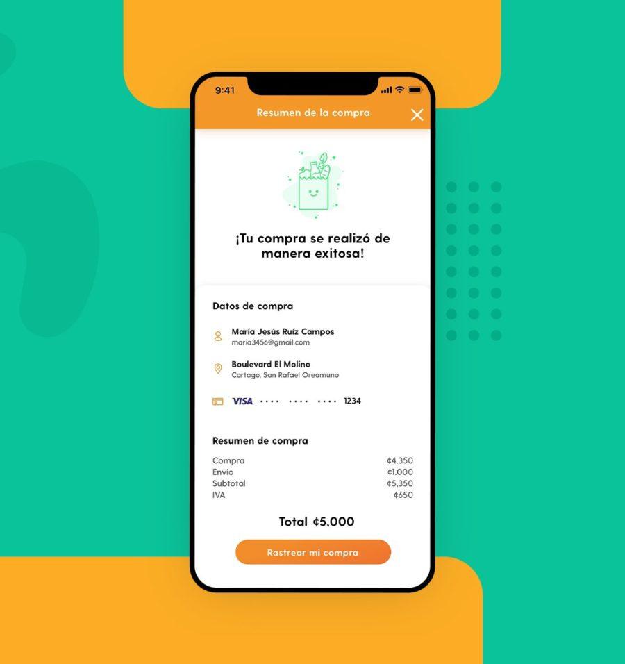 Aplicación de interfaz de usuario para pantalla de recibo de compra