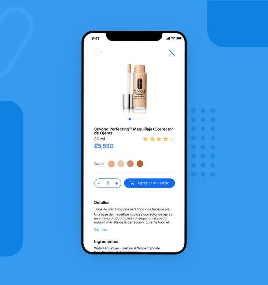 Interfaz de usuario aplicado a pantalla de producto