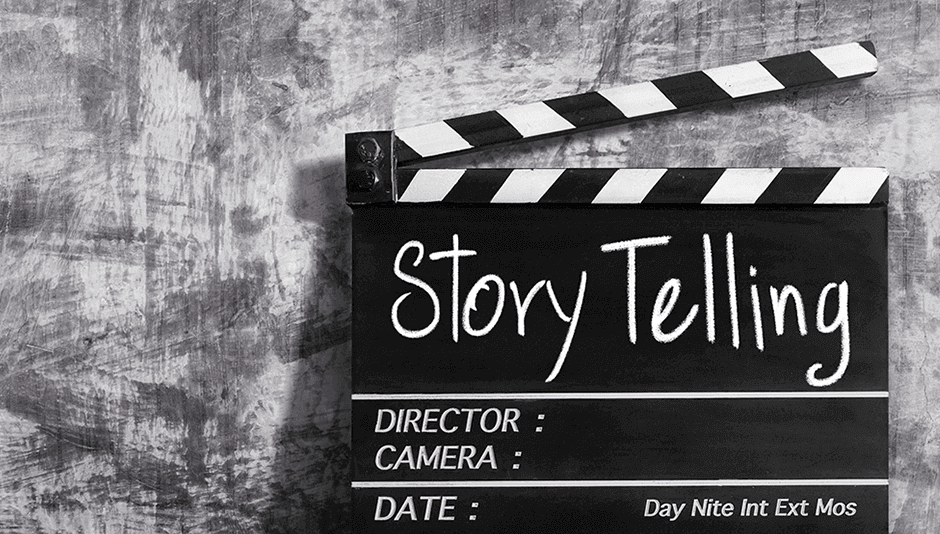 Claqueta en blanco y negro con mensaje de story telling